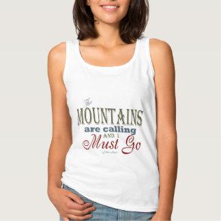 タイポグラフィの引用文-ジョンMuir --を呼ぶ山 タンクトップ