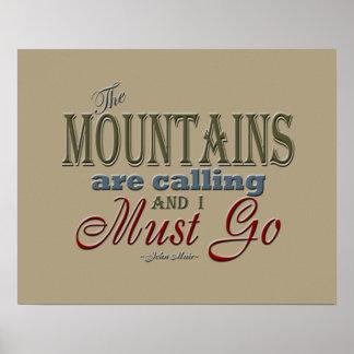 タイポグラフィの引用文-ジョンMuir --を呼ぶ山 ポスター