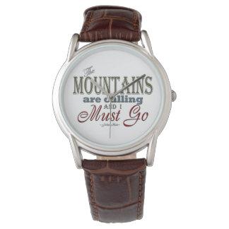 タイポグラフィの引用文-ジョンMuir --を呼ぶ山 腕時計