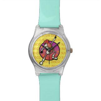タイポグラフィの腕時計が付いているおもしろいなディスコの寿司のグラフィック 腕時計