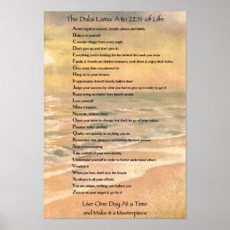 タイポグラフィの芸術、生命の禅へのダライ・ラマA ポスター