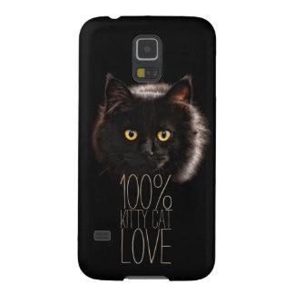 タイポグラフィの黒猫の100%年の子猫猫愛 GALAXY S5 ケース