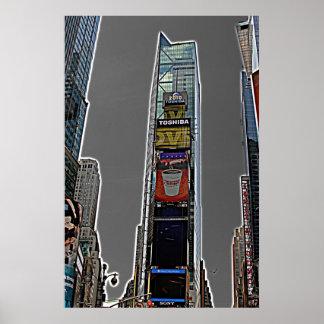 タイムズ・スクエアの漫画のスタイルの種類の ポスター