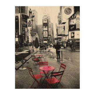 タイムズ・スクエアの白黒の赤 ウッドウォールアート