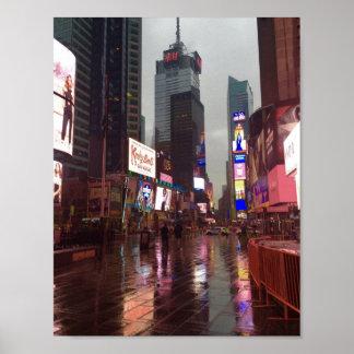 タイムズ・スクエアNYCニューヨークシティの雨の日ポスター ポスター