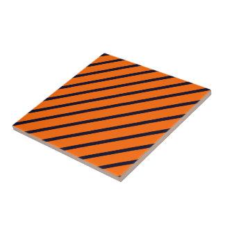 タイルのストライプな斜めの濃紺-オレンジ タイル