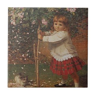 タイルのヴィンテージのビクトリアンな女の子の植物のばら色の木の低木 タイル