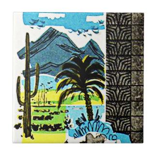タイルのヴィンテージのレトロの砂漠のアリゾナのサグアロのサボテン タイル