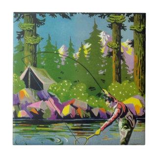 タイルのヴィンテージの川の森林キャンプのMtnのはえの魚釣り タイル