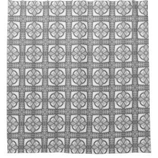 タイルのDécor花のモロッコの正方形のパターン シャワーカーテン