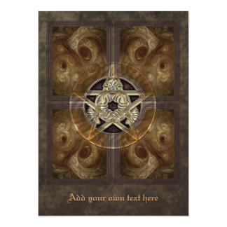 タイルを張られたフラクタルの星形五角形のX大きい招待状 カード