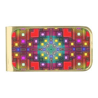タイルを張られたモダンで装飾的な抽象芸術 ゴールド マネークリップ