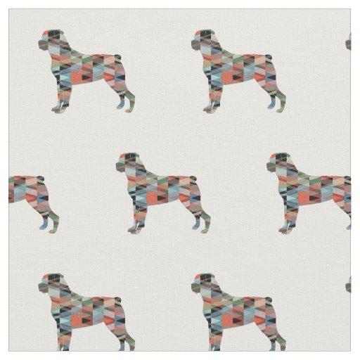 タイルを張られるロットワイラーのシルエット-格子縞 ファブリック