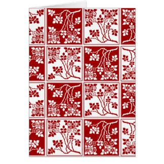 タイルを張られる赤と白の野生花の正方形のブロック カード