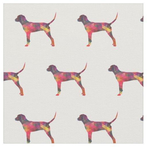 タイルを張られるRedboneのCoonhoundのシルエット-数々の ファブリック