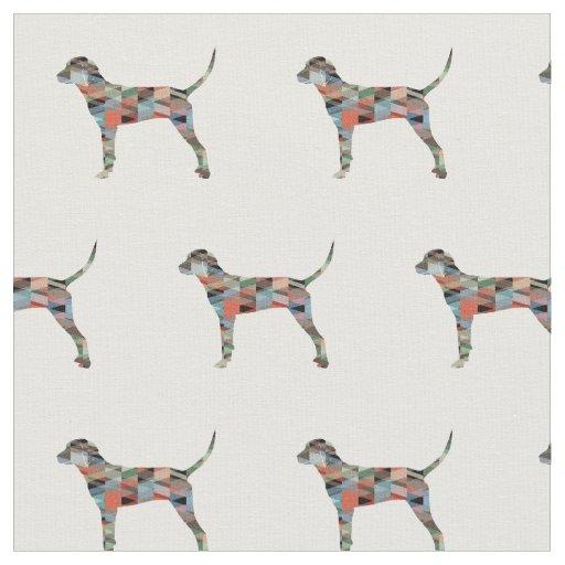タイルを張られるRedboneのCoonhoundのシルエット-格子縞 ファブリック