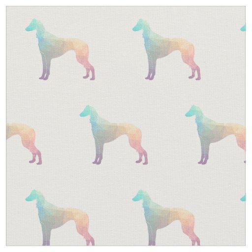 タイルを張られるSalukiの視力の猟犬のシルエット-パステル ファブリック