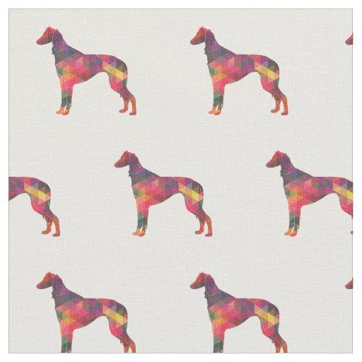 タイルを張られるSalukiの視力の猟犬のシルエット-数々の ファブリック