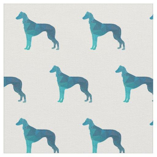 タイルを張られるSalukiの視力の猟犬のシルエット-緑 ファブリック
