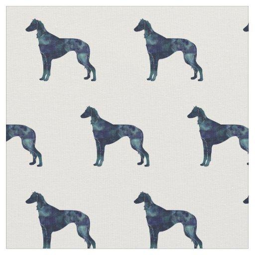 タイルを張られるSalukiの視力の猟犬のシルエット-黒いWC ファブリック