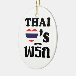 タイ愛PHRIK (唐辛子) ❤のタイの食糧 セラミックオーナメント
