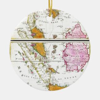 タイ東南アジアシンガポールの1710年のOttensの地図 セラミックオーナメント