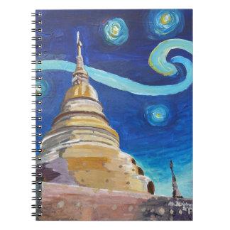 タイ-ゴッホのインスピレーションの星明かりの夜 ノートブック