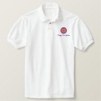 タイThaiger著白によって刺繍されるポロ 刺繍入りポロシャツ