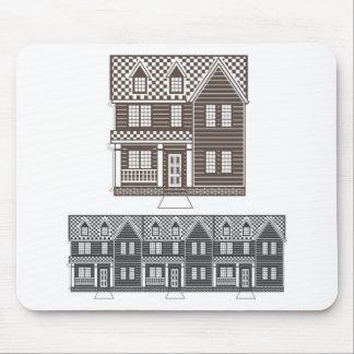 タウンホームのベクトルのタウンハウスの列 マウスパッド