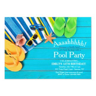 タオルおよびビーチサンダルの招待状 12.7 X 17.8 インビテーションカード
