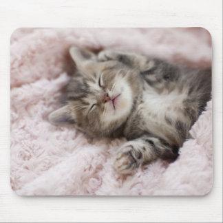 タオルで眠っている子ネコ マウスパッド