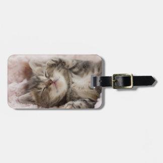 タオルで眠っている子ネコ ラゲッジタグ