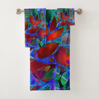 タオルの一定の花柄の抽象芸術のステンドグラス バスタオルセット