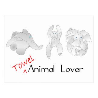 タオルの動物愛好家 ポストカード