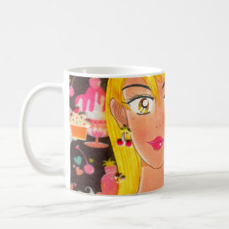 タオル、|菓子をコーヒー・マグの愛する女の子 コーヒーマグカップ