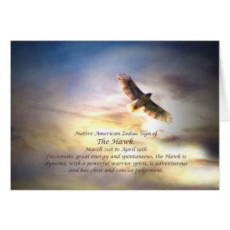 タカのネイティブアメリカンの(占星術の)十二宮図の印 カード