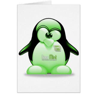 タキシードのロゴのLinuxのミント カード