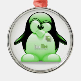 タキシードのロゴのLinuxのミント メタルオーナメント