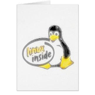 タキシードの中のLINUX Linuxのペンギンのロゴ カード