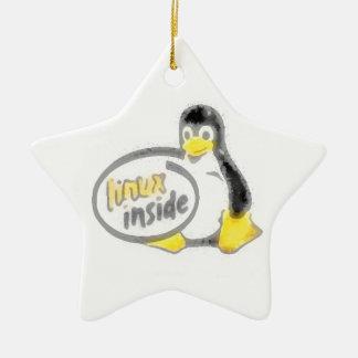 タキシードの中のLINUX Linuxのペンギンのロゴ セラミックオーナメント
