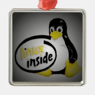 タキシードの中のLINUX Linuxのペンギンのロゴ メタルオーナメント