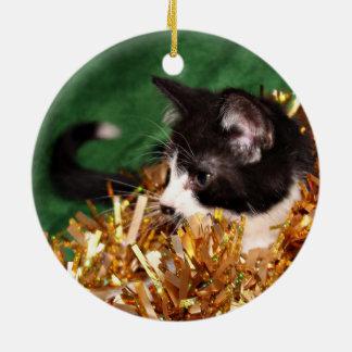 タキシードの子ネコのクリスマス セラミックオーナメント