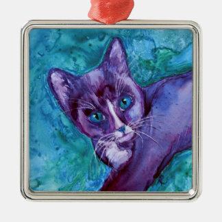 """タキシードの子ネコ猫のオーナメント- """"紫色のタキシード"""" メタルオーナメント"""