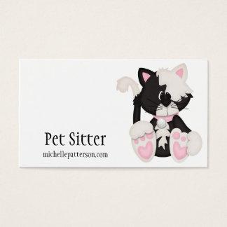 タキシードの子猫猫ペット付き添いの名刺 名刺
