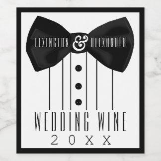 タキシードの結婚式のワイン・ボトルのラベル ワインラベル