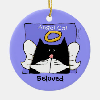 タキシード猫の天使は個人化なります セラミックオーナメント