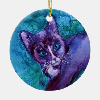 """タキシード猫の子ネコのオーナメント- """"紫色のタキシード"""" セラミックオーナメント"""