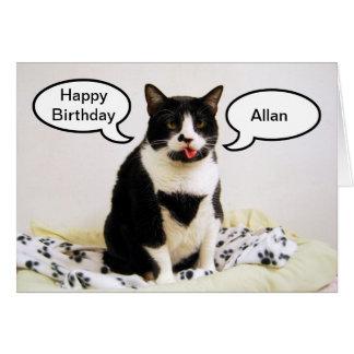 タキシード猫の誕生日のアランのユーモアカード カード