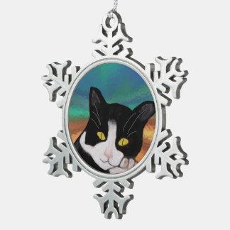 タキシード猫の雪片のオーナメント スノーフレークピューターオーナメント