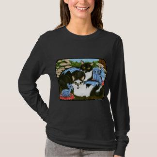 タキシード猫の青いドラゴンのきのこのファンタジーのワイシャツ Tシャツ